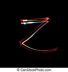 Letter Z made from brightly coloured neon lights