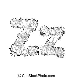 Letter Z made of flowers - Letter Z made of peonies and...