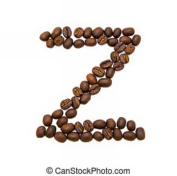 letter Z made of roasted coffee beans