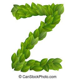 Letter Z of green leaves alphabet