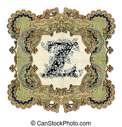 Letter Z. - Luxuriously illustrated old capital letter Z.