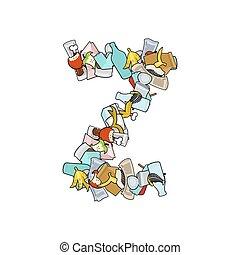 Letter Z Rubbish. Trash font. garbage alphabet. Lettering litter