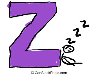 Letter Z - A childlike drawing of the letter Z, with a stick...