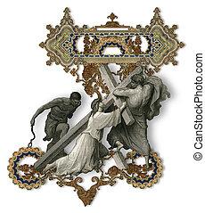 Letter Z. - Victorian letter Z with Jesus Christ, enfeebled...
