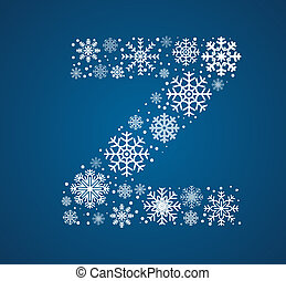 Letter Z, vector font frosty snowflakes