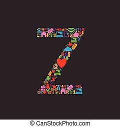 Web icons alphabet, letter Z. Vector illustration