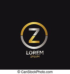 Letter Z with golden and silver parts. Vector illustration.