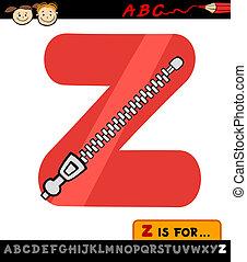 letter z with zipper cartoon illustration - Cartoon ...