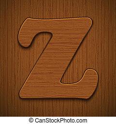 """Letter """"Z"""". Wooden alphabet. Vector illustration."""
