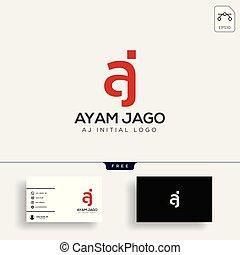 lettera, affari, aj, creativo, sagoma, logotipo, scheda