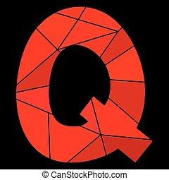 lettera, alfabeto, isolato, q, vettore, sfondo nero, rosso
