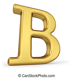 lettera, bianco, b, isolato, oro