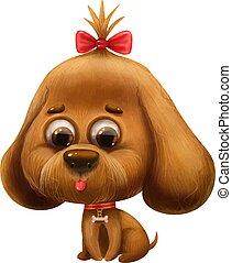 lettera, cane, alfabeto, cartone animato, arco, carino