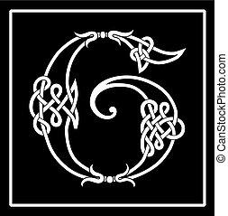 lettera, celtico, knot-work, g, capitale