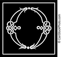 lettera, celtico, knot-work, o, capitale