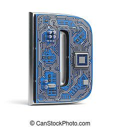 lettera, d., white., asse, ciao-tecnologia, circuito, digitale, isolato, alfabeto, style.