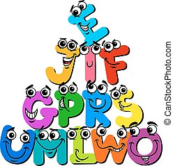 lettera, divertente, cartone animato, caratteri