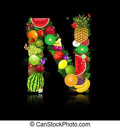 lettera, frutta, succoso, forma, n