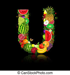 lettera, frutta, u, succoso, forma