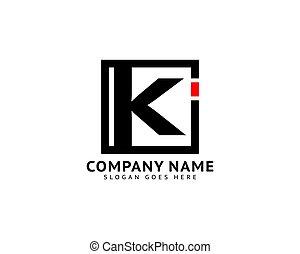 lettera, iniziale, disegno, ki, sagoma, logotipo