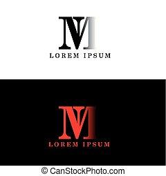 lettera, iniziale, m, vettore, disegno, sagoma, logotipo