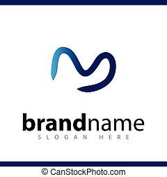 lettera, iniziale, m, vettore, sagoma, logotipo