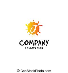 lettera, j, succo arancia, fresco, logotipo, schizzo, elemento, disegno