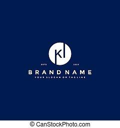 lettera, ki, vettore, logotipo, disegno