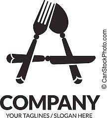 lettera, logotipo, cucchiaio, coltello, forchetta