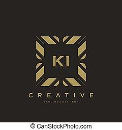 lettera, lusso, logotipo, ki, iniziale, vettore, monogram, sagoma, ornamento