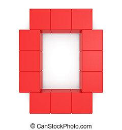 lettera, o, rosso, cubico