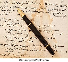 lettera, penna fontana