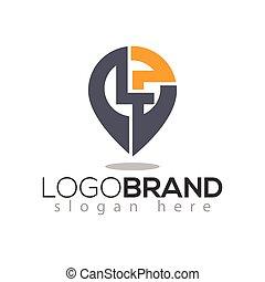 lettera, perno, f, iniziale, l, vettore, posizione, sagoma, logotipo, element.