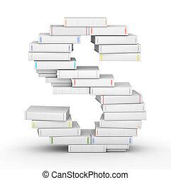 lettera s, accatastato, da, vuoto, libri