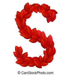 lettera s, di, rosso, petali, alfabeto