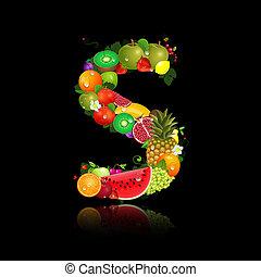 lettera s, frutta, succoso, forma