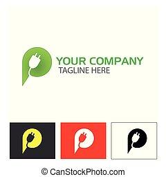 lettera, vettore, icon., fondo, bianco, spina, creativo, p, illustrazione