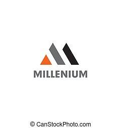 lettera, vettore, m, disegno, iniziale, logotipo, sagoma