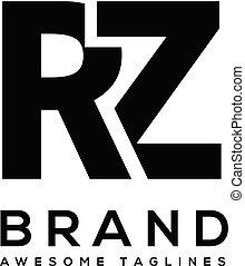 lettera, vettore, rz, audace, logotipo, sport, forte