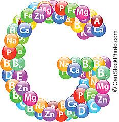 lettera, vitamina, g