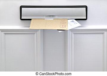 letterbox, 同时,, 信件