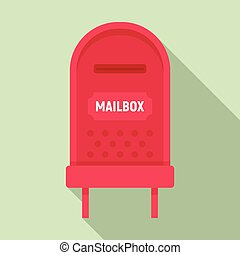 Letterbox icon, flat style - Letterbox icon. Flat ...
