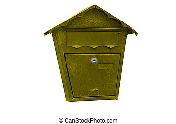 letterbox - yellow letterbox isolated on white