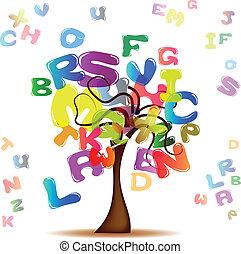 lettere, albero, colorato