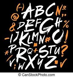 lettere, alfabeto, scritto, vettore, brush., alphabet.