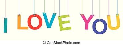 lettere, appendere, amore, bandiera, lei