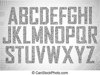 lettere, asse, circuito