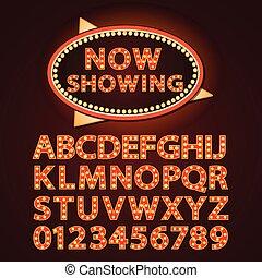 lettere, cinema, mostra, neon, theather, lampada, vettore, arancia, font, o