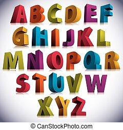lettere, colorito, grande, font, 3d, standing.