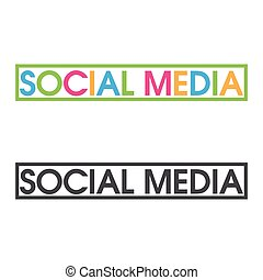 lettere, colorito, media, vettore, sociale, parola, icon.